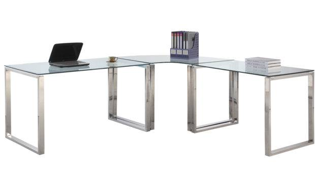 Imports Computer Desk Table Clear Glass Stainless Steel