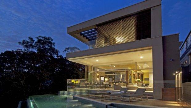 Infinity Pool Glass Balustrading Terrace Waterfront Home