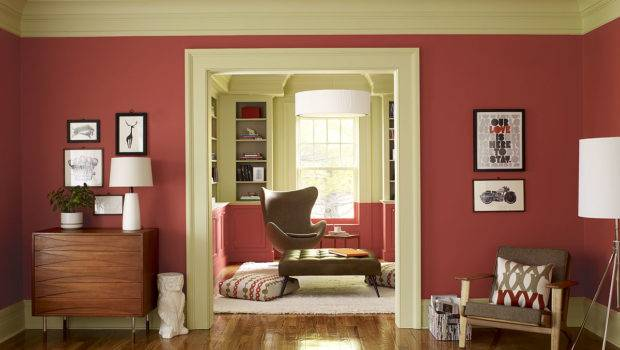 Interesting Soft Red Living Room Color Ideas Owl Decoration