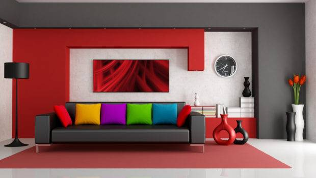 Interior Design Leather Sofa Colorful Pillows