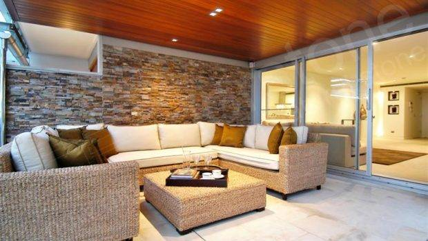 Interior Designs Stone Veneer Brown Wall White Marble