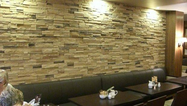 Interior Designs Stone Veneer Cream Wall Green Leather