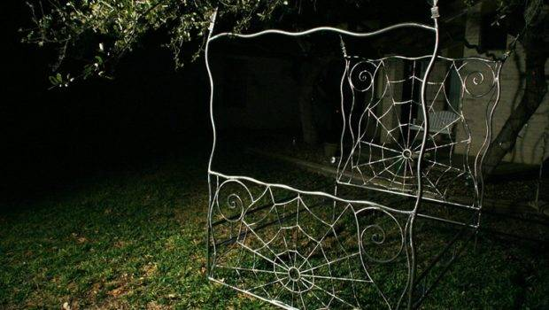 Iron Bed Canopy Queen Wrought Gothic Spiderweb Style