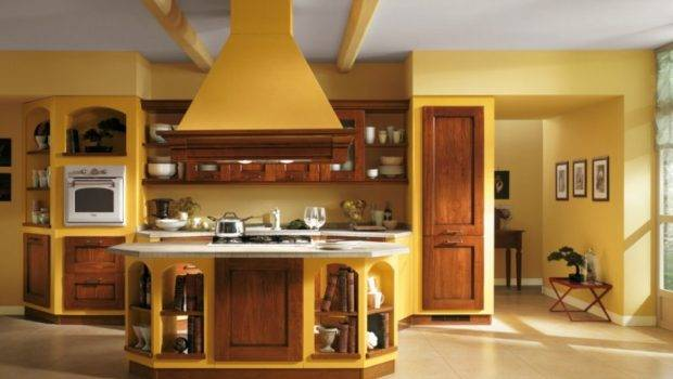 Italian Kitchen Design Brown Wood Cabinets Yellow Wall Paint Color