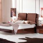 Italian Upholstered Bed Shown Brown Leather Eclectic