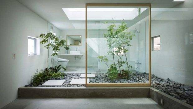 Japanese Style Zen Bathroom Courtyard Interior Design Ideas