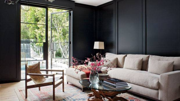 Jenni Kayne Los Angeles Living Room Black Walls
