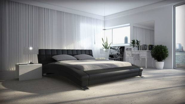 King Queen Twin Cool Modern Leather Bed Frame Bedroom