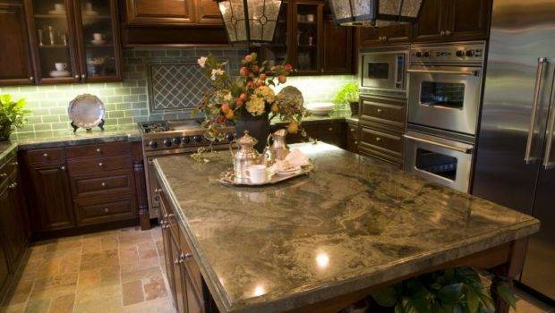 Kitchen Cabinets Granite Countertop Green Paint White