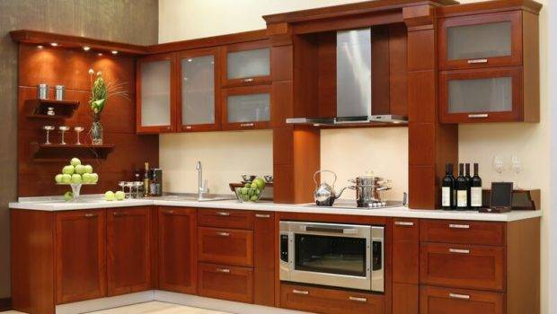 Kitchen Cabinets Modern Medium Wood Hood Luxury