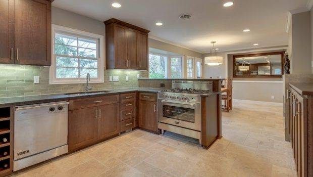 Kitchen Dining Room Travertine Tile Floor Envision