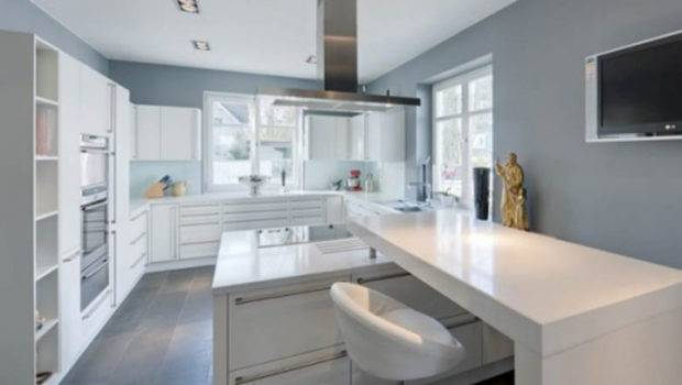 Kitchen Grey Wall Cool White Modern