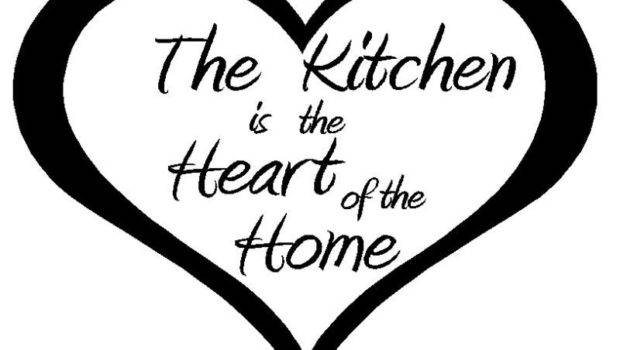 Kitchen Heart Home Vinyl Wall Quote Decal Modern
