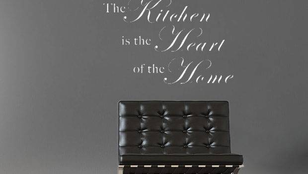 Kitchen Heart Home White Text Quotes Wall Stickers