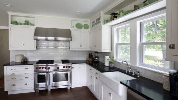 Kitchen Interior Lovely Shaped White Cabinet Silver