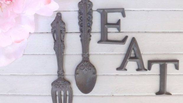 Kitchen Wall Decor Gray Fork Spoon Eat Sign Word