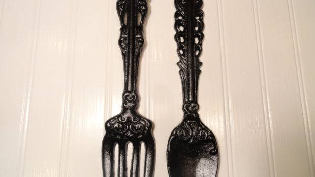 Kitchen Wall Decor Large Fork Spoon Black Junkintime