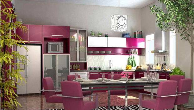 Kitchens Designs Purple Themes Colorful