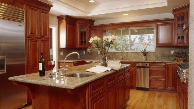 Kitchens Traditional Medium Wood Cherry Color Kitchen