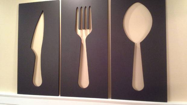 Knife Fork Spoon Wall Art Set Wheelhorsedesigns Etsy