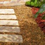Landscaped Stone Walkway Square Tile Stepping Stones Create Pathway