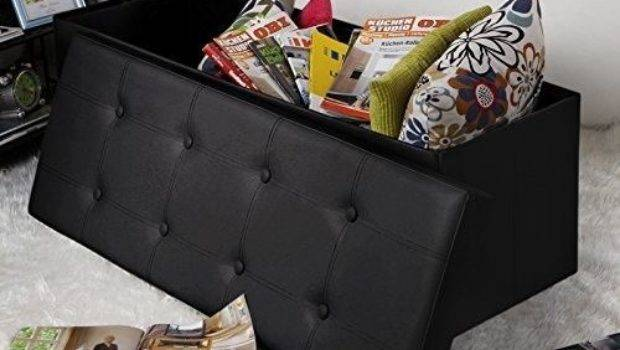 Leather Storage Ottoman Bench Box Foot Rest Living Room