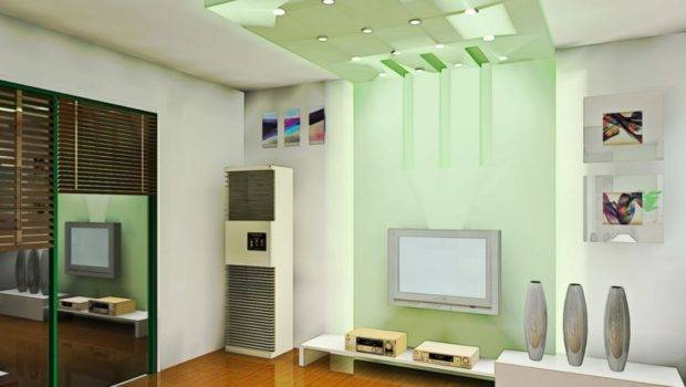 Light Green Wall Ceiling Living Room