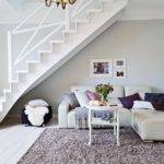Light Grey Walls White Ceiling Moldings Stairs