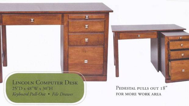Lincoln Amish Crafted Computer Desk Measures Has