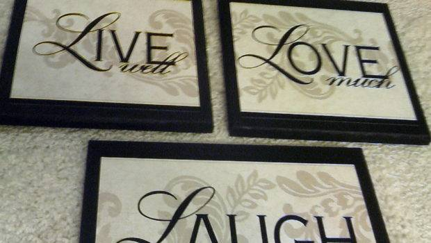 Live Well Love Much Laugh Often Home Wall Decor Plaque Set Singles