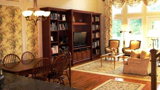 Living Dining Rooms Cream Area Rugs Cherry Built Bookcase