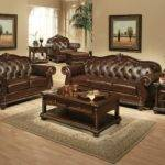 Living Room Acme Brown Leather Traditional Furniture Set