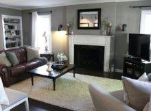 Living Room Brown Couch Gray Walls May Too Dark Decorating