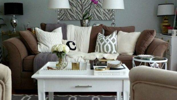 Living Room Brown Couch Modernize Space Grey Wall