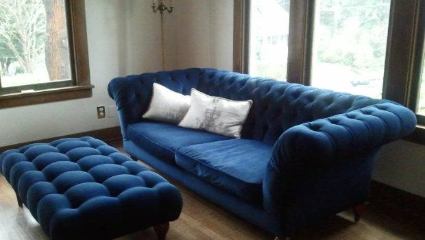 Living Room Decoration Ideas Linen Chesterfield Sofa Velvet Couch Blue