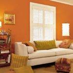 Living Room Decoration Orange Wall Painting Ideas Paint