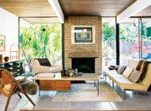 Living Room Featuring Travertine Topped Coffee Table Paul Mccobb