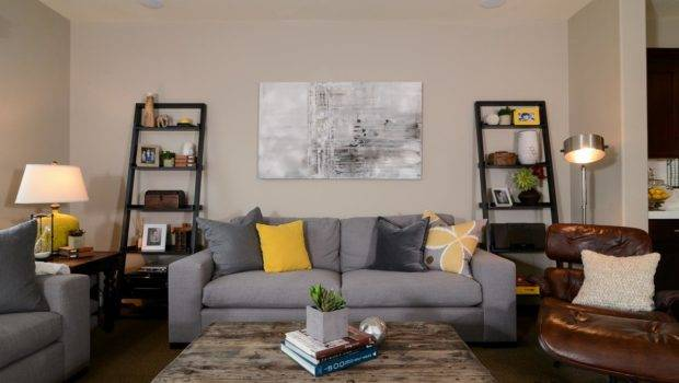 Living Room Gray Yellow Accents