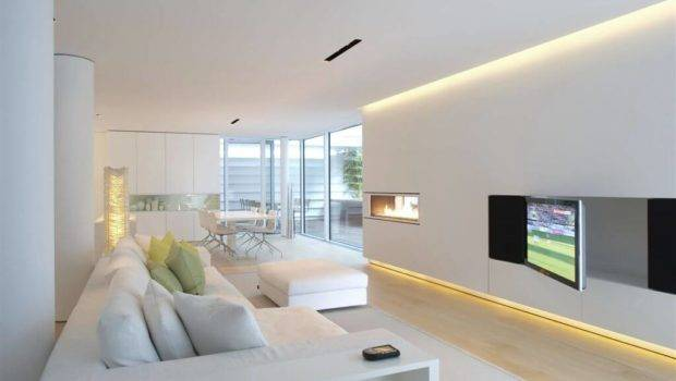 Living Room Holds Variety Textural Detail Beneath Muted Grey