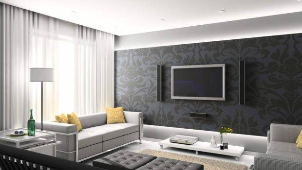Living Room Home Design Ideas Black White Grey Colored Furniture