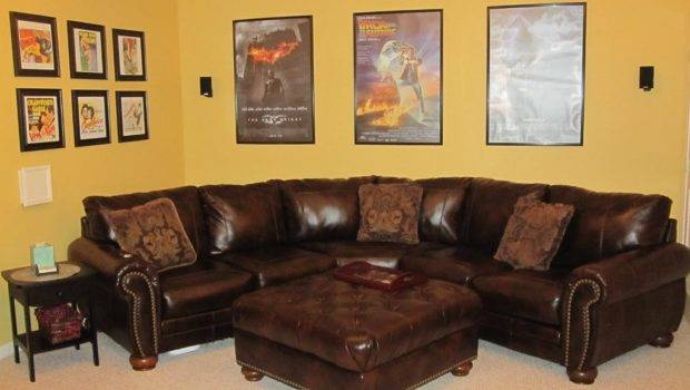 Living Room Ideas Using Brown Leather Sectional Sofa Small Space