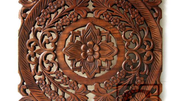 Lotus Flower Teak Wood Hand Carved Home Decor Wall Panel