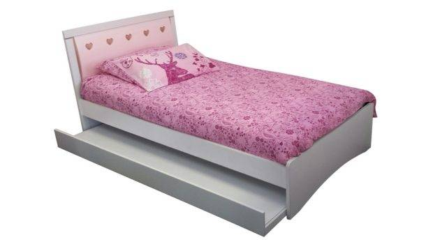 Love Heart King Single Kids Trundle Bed White Pink