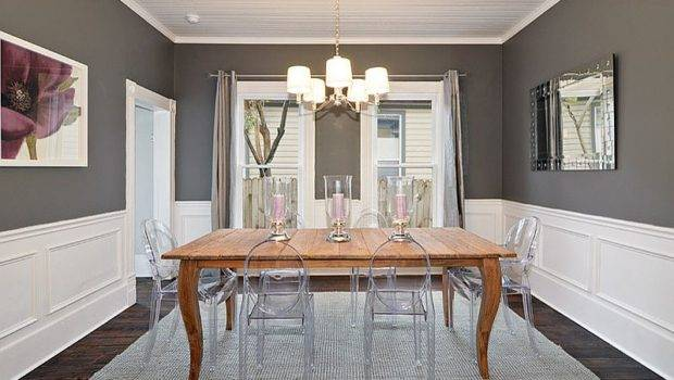 Lovely Charcoal Gray Dining Room Acrylic Chairs Wooden Table