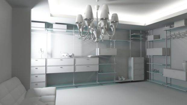 Luxurious All White Walk Closet Shelves Drawers Seating