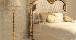 Luxurious Bed Golden Frame Stand Lamp Royal Bedroom