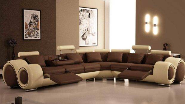 Luxury Brown White Recliner Sofa Furniture Home Office