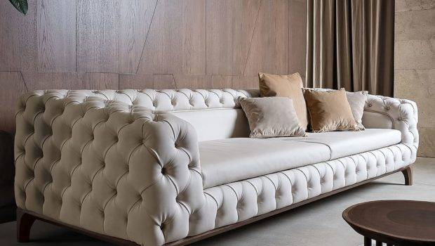 Luxury Italian Designer Button Upholstered Sofa