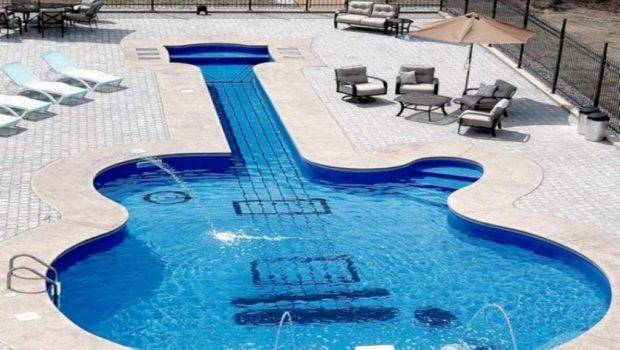 Luxury Pool House Swimming Party Guitar Shaped