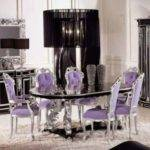 Luxury Silver Oval Glass Dining Table Room
